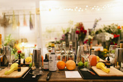 A tablescape with cocktail-making supplies.