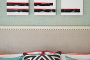 Stripes and patterns across the master bedroom.