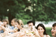 Lauren McGrath and friends at an outdoor dinner party