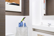 A bright portrait in a modern bathroom