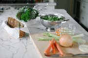 Vegetables being washed and prepped for meal