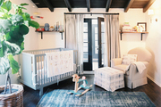 A nursery in shades of blue and white