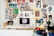 An inspiration board in an office work space