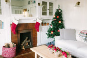 A living room decorated for the holiday.