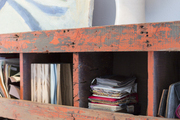 Vintage shelves with fabric swatches and samples
