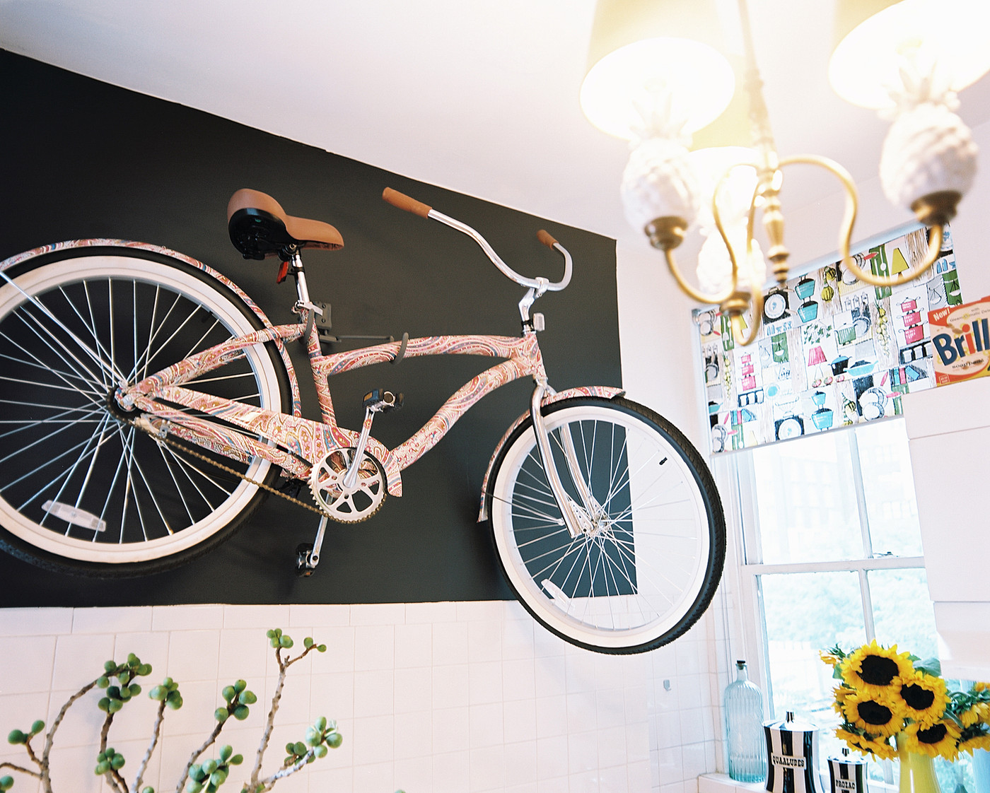 Bicycle storage photos design ideas remodel and decor for Kitchen colors with white cabinets with tandem bike wall art