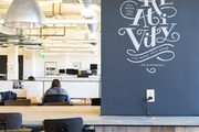 Wall graphic in large open-office space.
