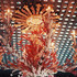 A tole chandelier accented with coral branches
