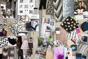 A mood board of textiles and inspirational photographs