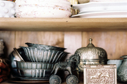 A collection of dishes and baking tins