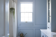 Light blue window lit bathroom with hanging plant and small wood chair.