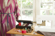 Emily Meyer's sun-filled home studio with a dress form and work table