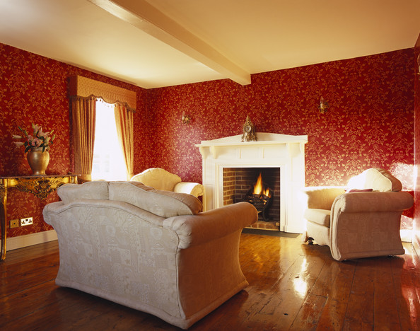Red Traditional Living Room