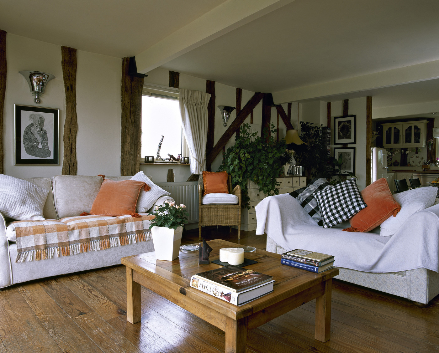 Orange white country living room living room design Country style living room ideas