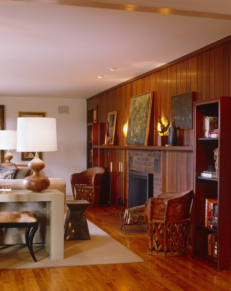 Brown Contemporary Family Room