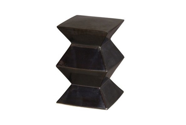Zig Zag Garden Stool in Metallic Black Outdoor Furniture Picks