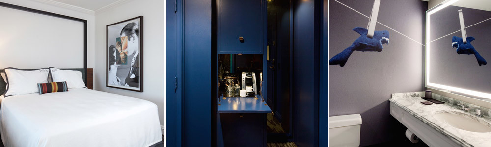 """Much of the art throughout the hotel showcases classic black-and-white movie scenes that have been deconstructed and then merged with colorful close-ups of Arizona landscapes; The foyer and dressing room of a suite are painted in Benjamin Moore's Champion Cobalt; """"The huge [bathroom] mural was a great way to corroborate our concept of 'refined revelry' and create an unexpected moment in the space,"""" she says. The mural of a shark on a clothespin was found at Kevin Barry Fine Arts"""