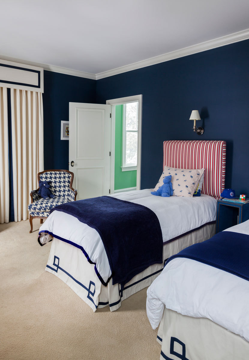 The older boys' bedroom puts a spin on the home's palette.
