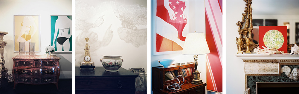 At far left, whimsical contemporary paintings by Natasha Law are paired with a dignified Louis XV marquetry chest of drawers in the Clarkes' foyer.