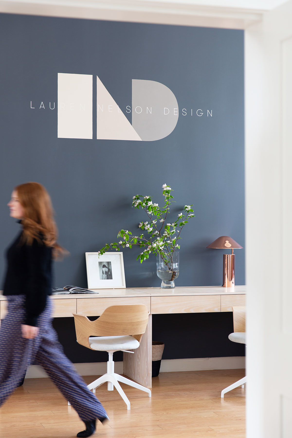 """We didn't want to overdecorate and wanted to keep a fairly clean, minimal aesthetic to help encourage flow and creativity,"" says the designer. Benjamin Moore Paint 
