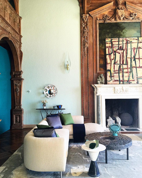 Designer Sara Story took on the living room of the Greystone Mansion, lending a modern aesthetic to the traditional surroundings. Image via @luxemagazine.