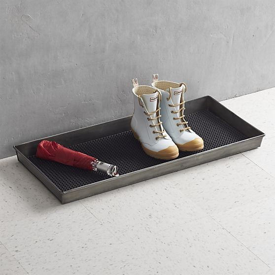 Zinc Boot Tray and Liner: $40, Crate & Barrel