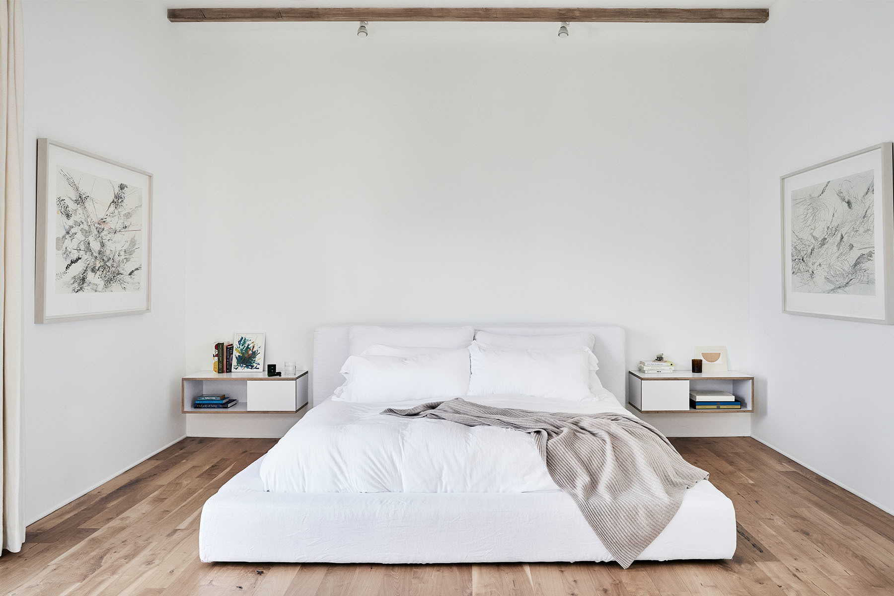 """I've always been sensitive to space and light and how they impact one's ability to think and create and live,"" the entrepreneur explains. Restoration Hardware Bed 