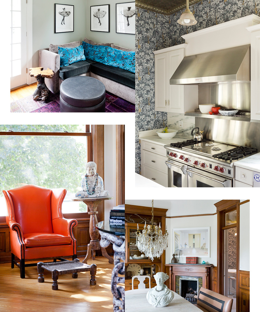 Buckingham used one of her of favorite hues—Benjamin Moore's Grey Horse—on the walls of the second-floor media room. Old and new find a place in the kitchen, wherea Viking range mingles withoriginal tin ceilings.Elvira—an antique bust and family heirloom—sits atop a Gustavian dining table and beneath a 19th-century French crystal chandelierin the dining room.The first-floor turret room is the resting place of the designer'sfavorite Buddha, as well as a Midcentury orange-leather wing chair.
