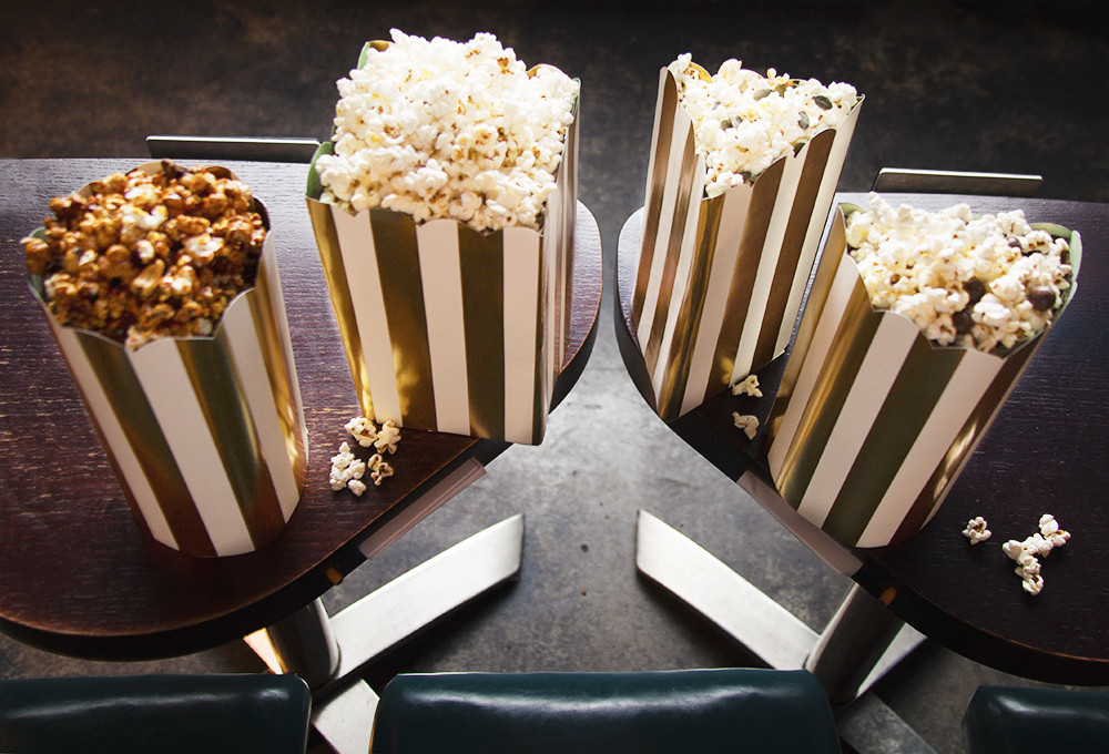 Chef Michael Franey's best-picture-themed popcorns at Nitehawk Cinema. Photographed by Genevieve Garruppo
