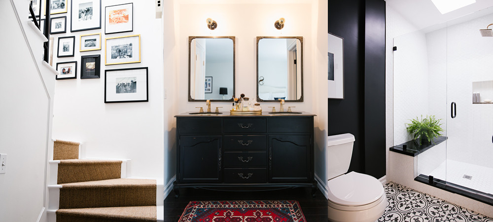 A gallery wall lines the newly carpeted stairwell. Two baths were reinvented with statement-making black accents, and, at far right, Granada tile.