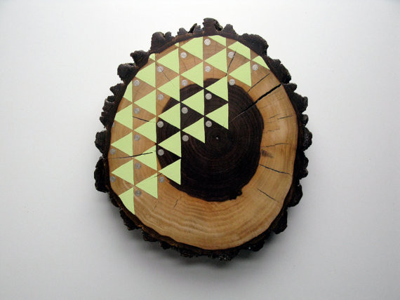 Hand-Painted Wood Slice by Cassandra Smith