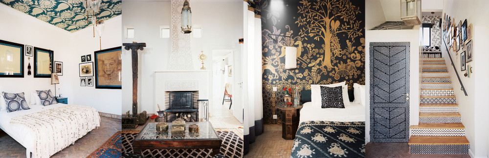 From left to right: A boldly stenciled ceiling paired with a delicate chandelier creates a sense of drama in this simply appointed bedroom; A chimneypiece of Egyptian tiles is decorated with a Catholic reliquary; The Golden Gazelle Suite's mural was inspired by a folding screen from fashion designer Jeanne Lanvin's apartment, spotted by Montague in a Christie's catalog; Elaborate stencling adds a sophisticated touch to the understated elegance of a cool white hallway.