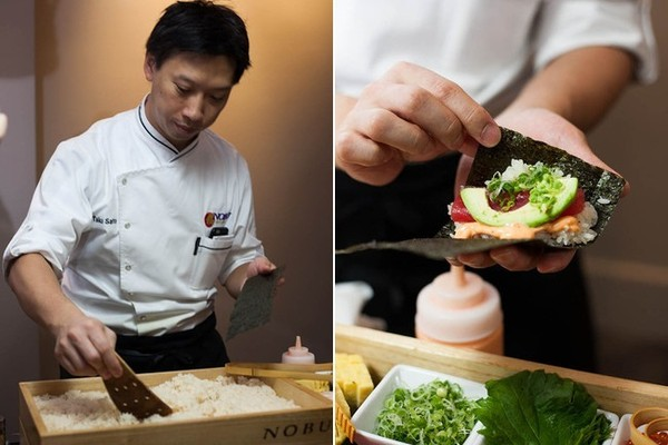 Chef Taku Sato assembles a spicy-tuna hand roll.