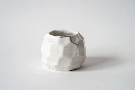 Faceted Vessel in White+Silver by The Object Enthusiast