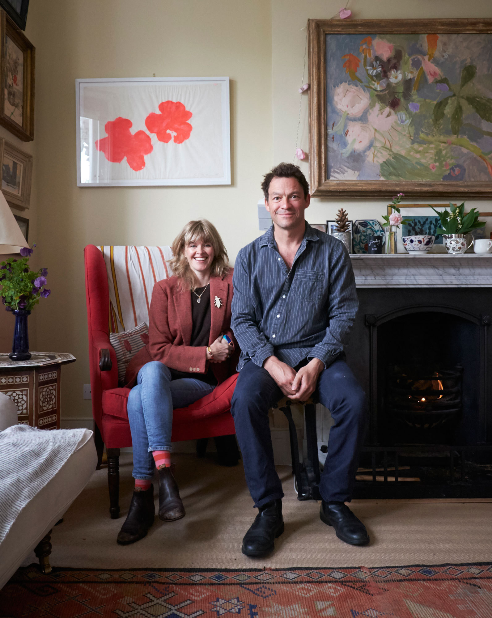 Catherine FitzGerald and Dominic West in their renovated 19th-century residence in west London.