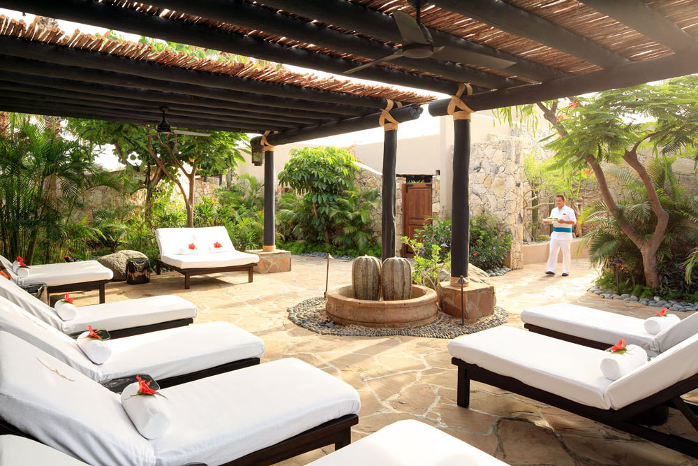 The relaxation garden at the resort spa.