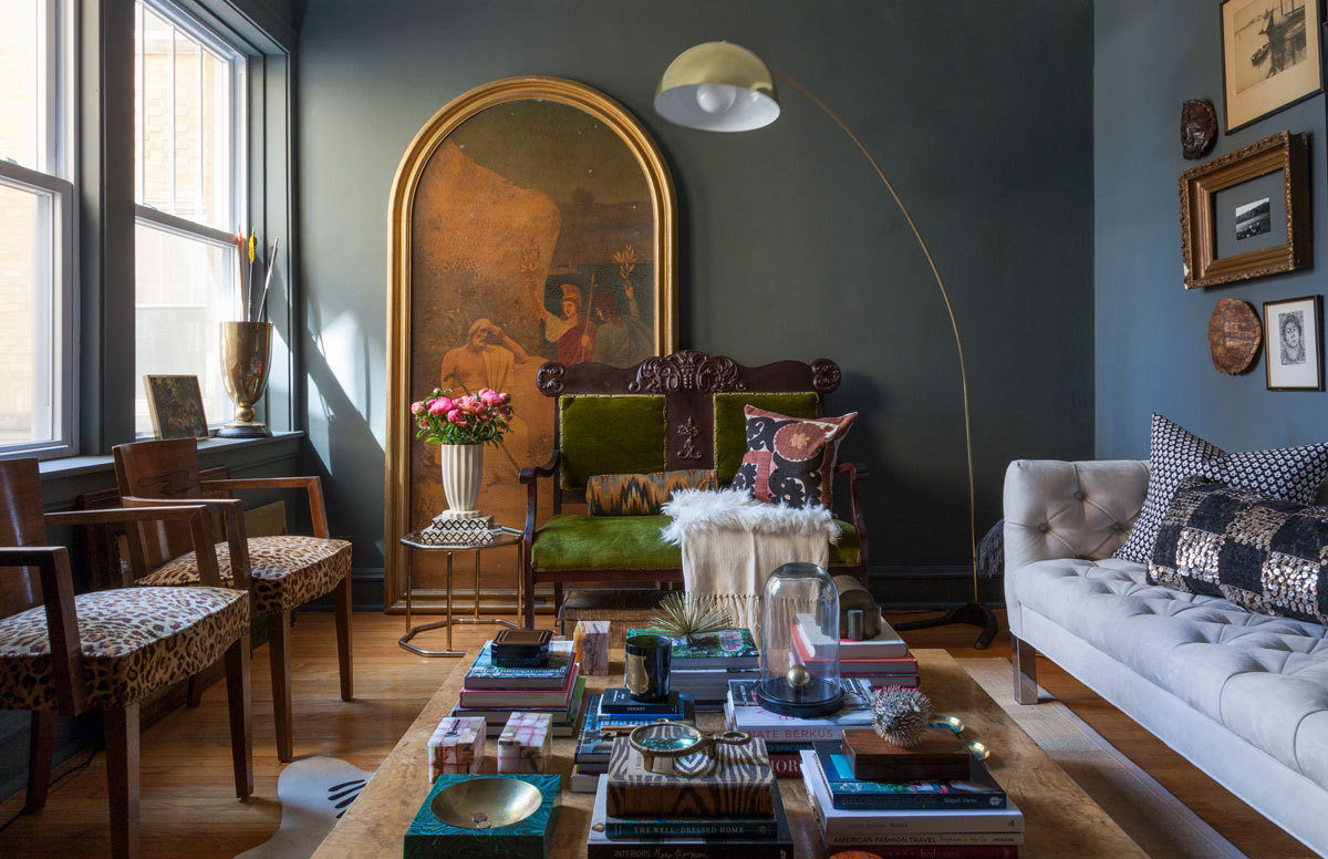 The Chicago living room of Matt Carollo, awash in a moody shade of Farrow & Ball paint.
