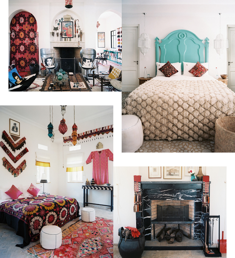 Clockwise from top left: The grand salon of the main house is alive with color and pattern, blending traditional Moroccan design with industrial touches, such as swivel chairs made from repurposed metal barrels; Many of the rugs and blankets seen throughout the hotel are available for purchase online at Montague's shop, the Red Thread Souk; Many of Peacock Pavillions' bedrooms boast working fireplaces such as this one, covered in sumptuous black marble; The vibrant bedroom with its hand-blown Egyptian lantern, showcases traditional Moroccan textiles in a decidedly modern context.