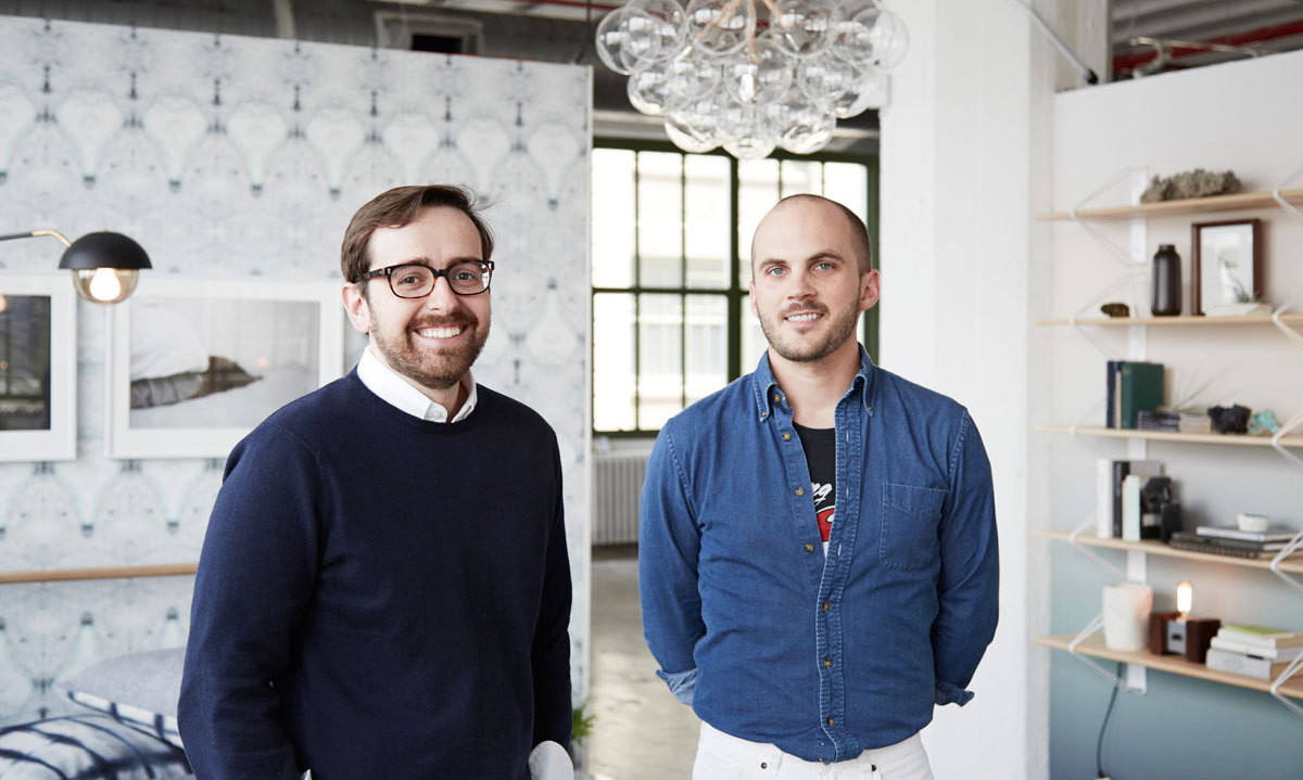 John Neamonitis (left) and Charlie Miner at the WorkOf Apartment installation during NYCxDesign.