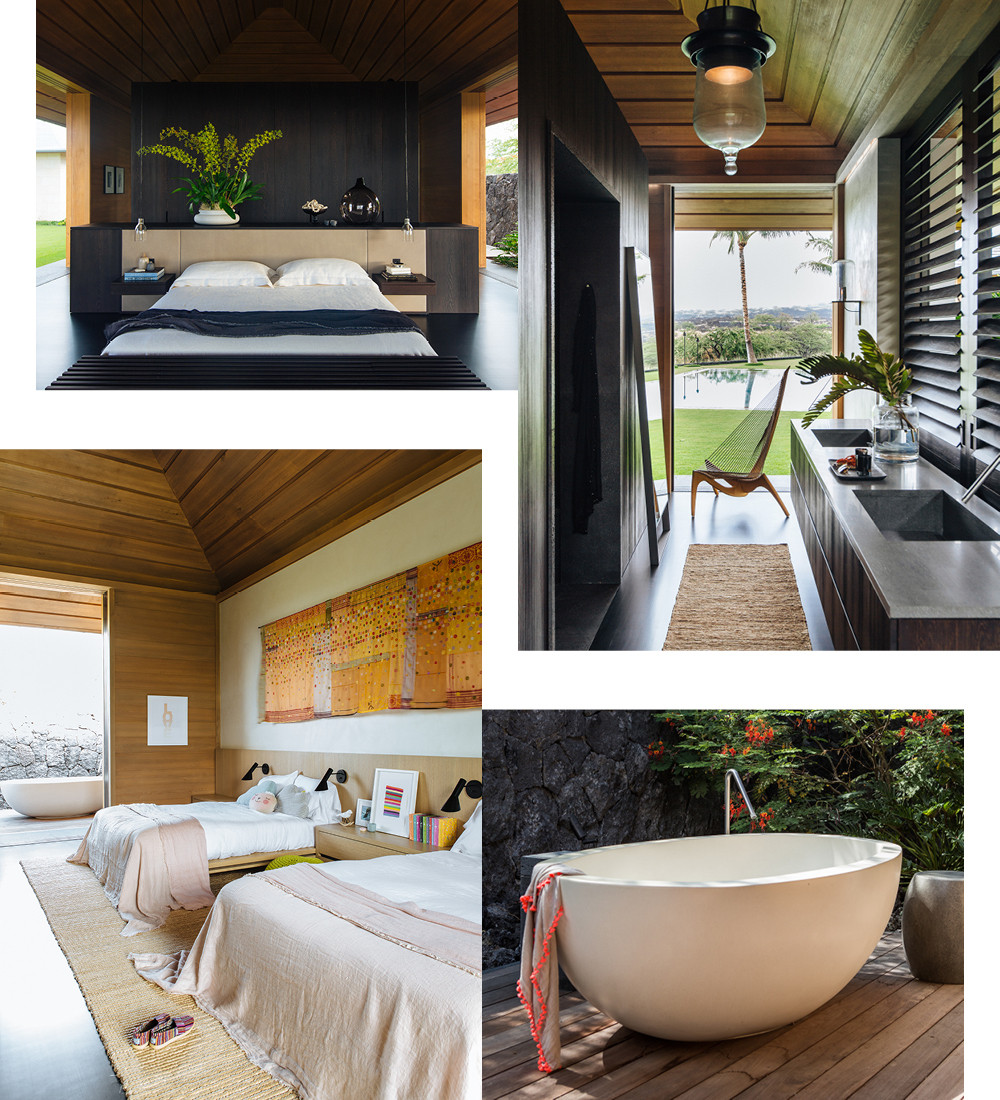 Dark-stained wood lends moody contrast in the master bedroom. As elsewhere, a dual vanity in the adjoining bathroom remains open to the elements. An outdoor soaking tub gains privacy thanks to an inconspicuous lava-stone wall that's tucked into the landscape. Natural textures define an understated kids room.