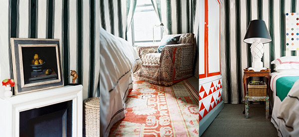 Using a mixture of stripes and patterns, Olsen carefully selected each fabric to complement one another in both scale and contrast.