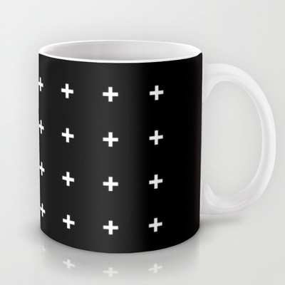 White Cross on Black Mug