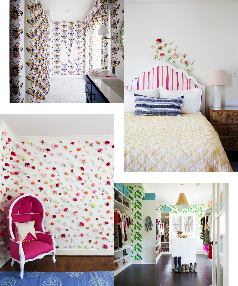 "Kime's Queen Bee pattern fills her daughter, Ava's, bathroom. ""It's all kind of lost on most kids, but she loves it,"" Kime says. A John Robshaw quilt and Katie Kime headboard brighten up her daughter's bed. The designer's closet features a preppy banana-leaf motif. A wall adorned with faux-silk flowers creates a vibrant backdrop for Kime's pink Birdcage chair."