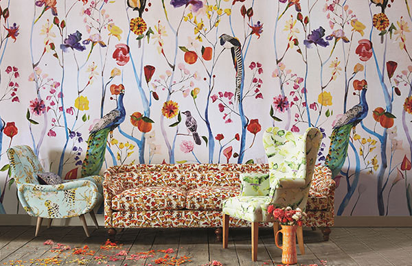 Anthropologie 39 s new home collaboration with voutsa is its for Anthropologie wall mural