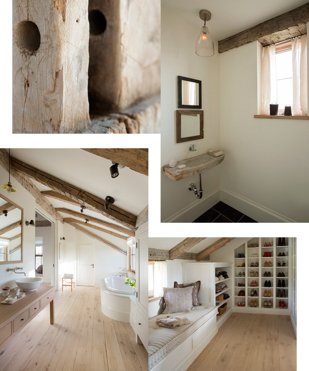 An otherwise clean-lined layout is brought back to the land with a reclaimed beams. A small powder room features a rough-hewn sink and an understated glass pendant. The master bedroom combines sleek shelving with more organic details. The serene yet simple master bathroom evokes a cozy cabin thanks to sloping ceilings and furniture-inspired fixtures.