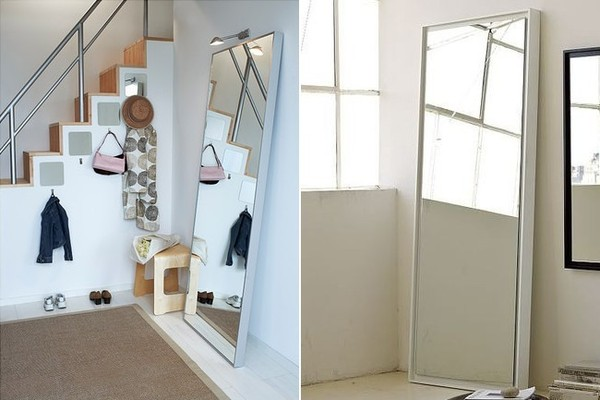 From left: Hovet Mirror, $129, Ikea; Floating Wood Wall Mirror, $199, West Elm.