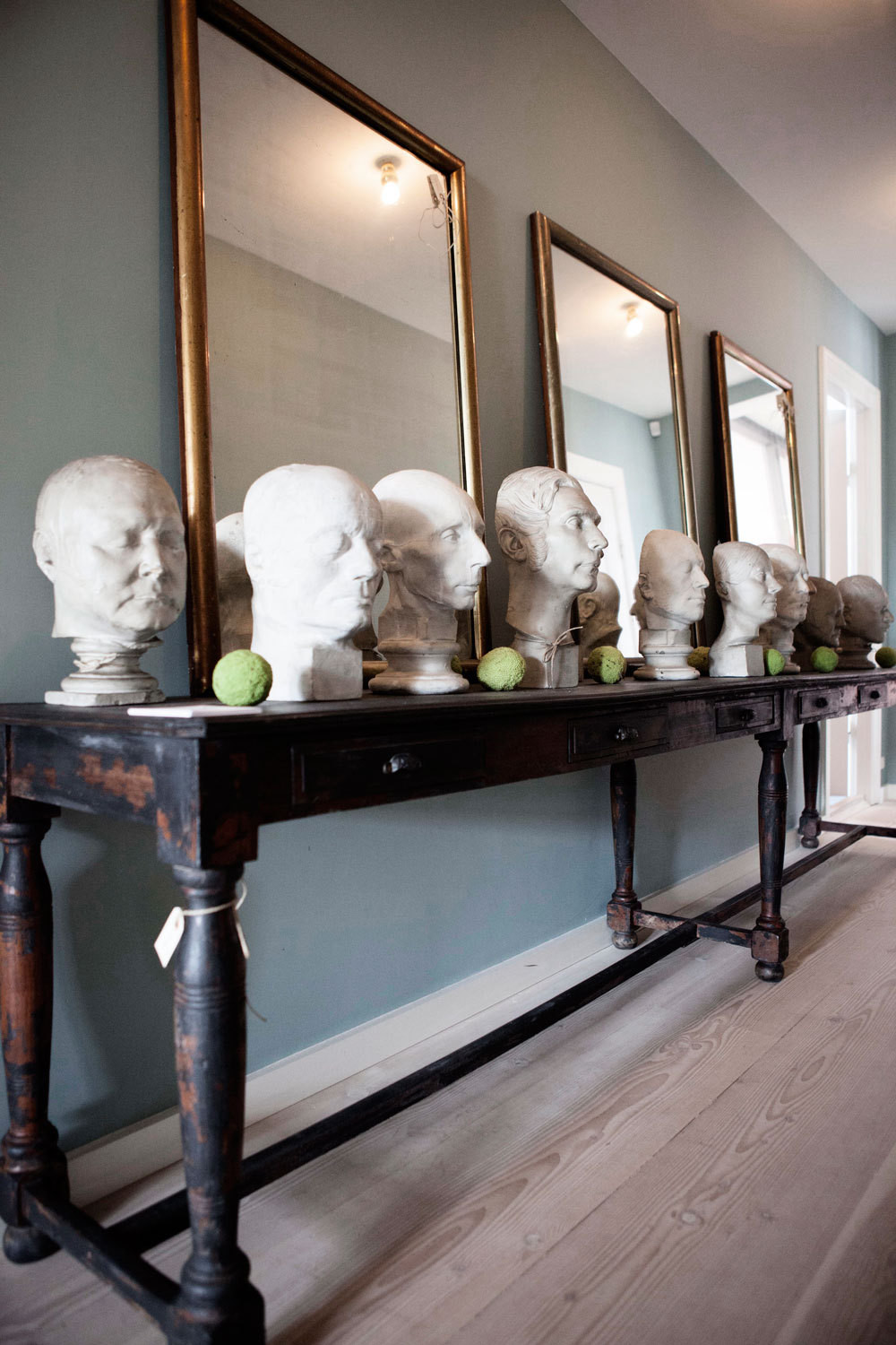 Marble busts at 1stdibs dealer the Apartment, in Copenhagen.