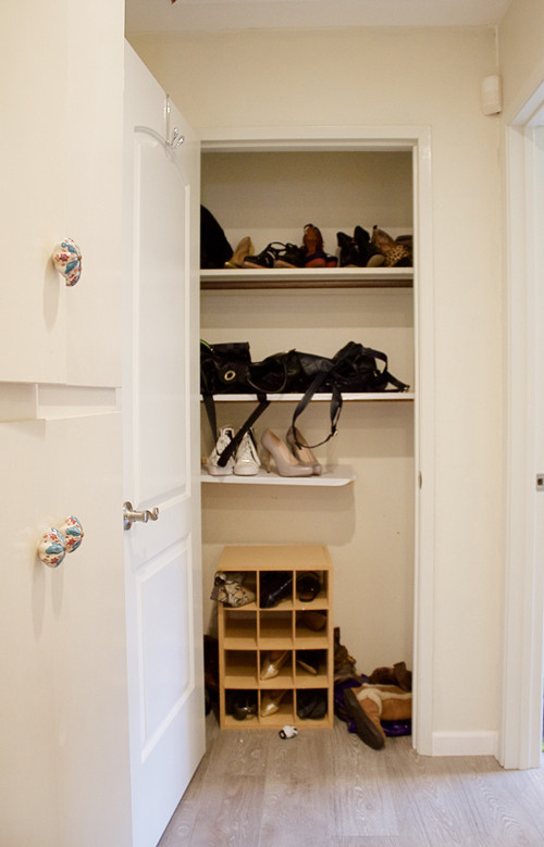 Before: A random closet with erratic storage.