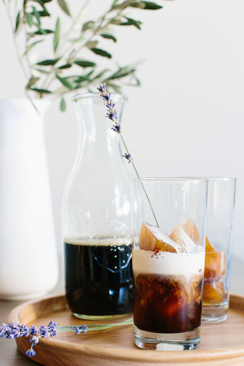Lavender is a fancy-feeling addition to a homemade iced latte.