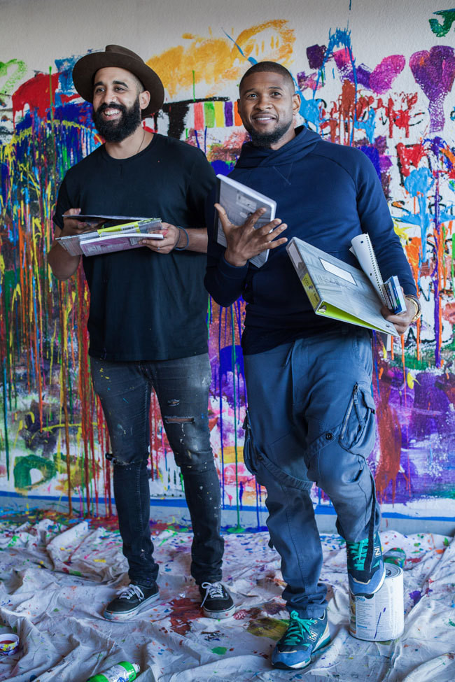 Artist Jonni Cheatwood and Usher with their cool-for-school line.